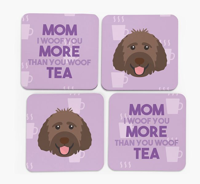 'More than Tea' - Personalized Goldendoodle Coasters (Set of 4)