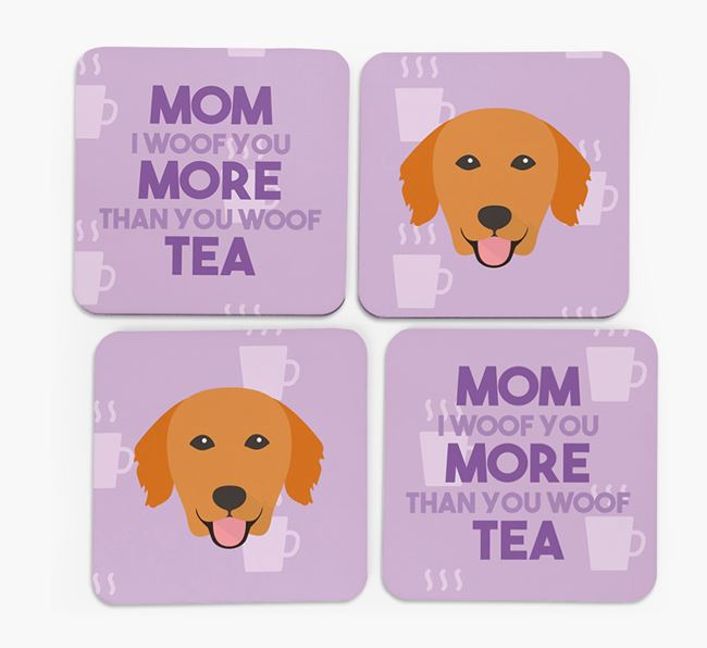 'More than Tea' - Personalized Golden Retriever Coasters (Set of 4)