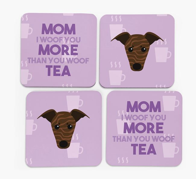 'More than Tea' - Personalized Greyhound Coasters (Set of 4)