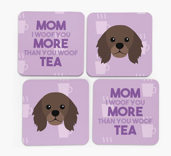 'More than Tea' - Personalized King Charles Spaniel Coasters (Set of 4)