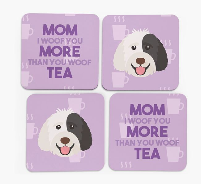 'More than Tea' - Personalized Labradoodle Coasters (Set of 4)
