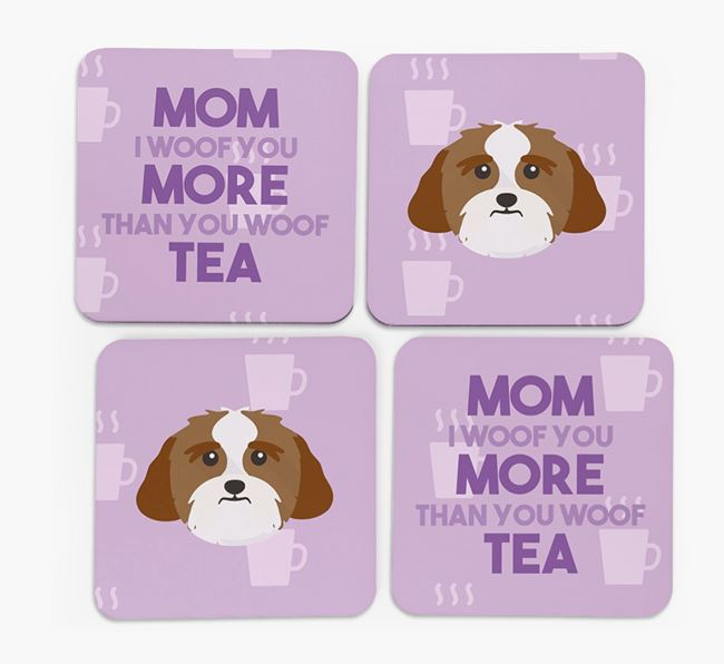 'More than Tea' - Personalized Lhasa Apso Coasters (Set of 4)