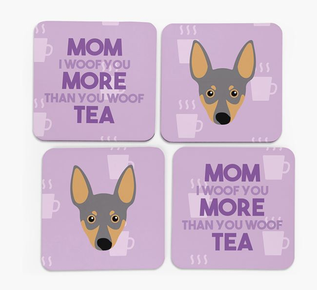 'More than Tea' - Personalized Miniature Pinscher Coasters (Set of 4)