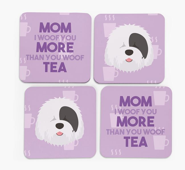 'More than Tea' - Personalized Old English Sheepdog Coasters (Set of 4)