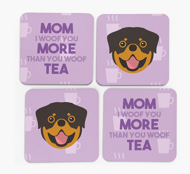 'More than Tea' - Personalized Rottweiler Coasters (Set of 4)