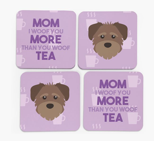 'More than Tea' - Personalized Schnoodle Coasters (Set of 4)