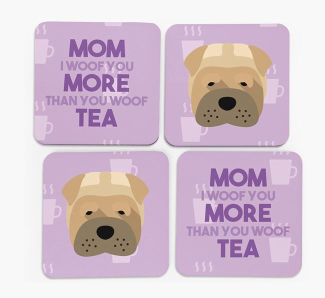 'More than Tea' - Personalized Dog Coasters (Set of 4)