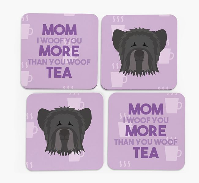'More than Tea' - Personalized Skye Terrier Coasters (Set of 4)
