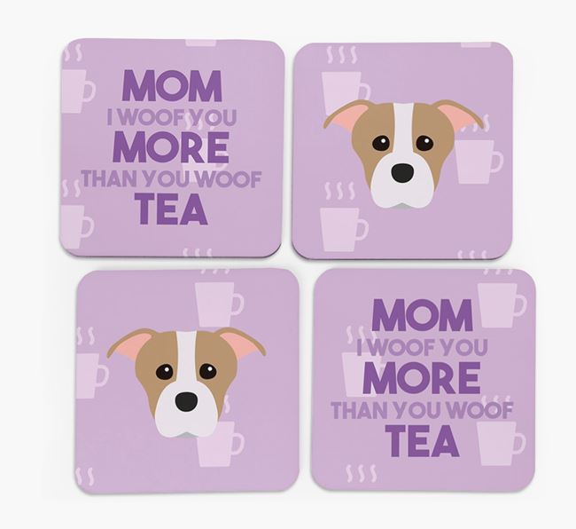 'More than Tea' - Personalized Staffordshire Bull Terrier Coasters (Set of 4)