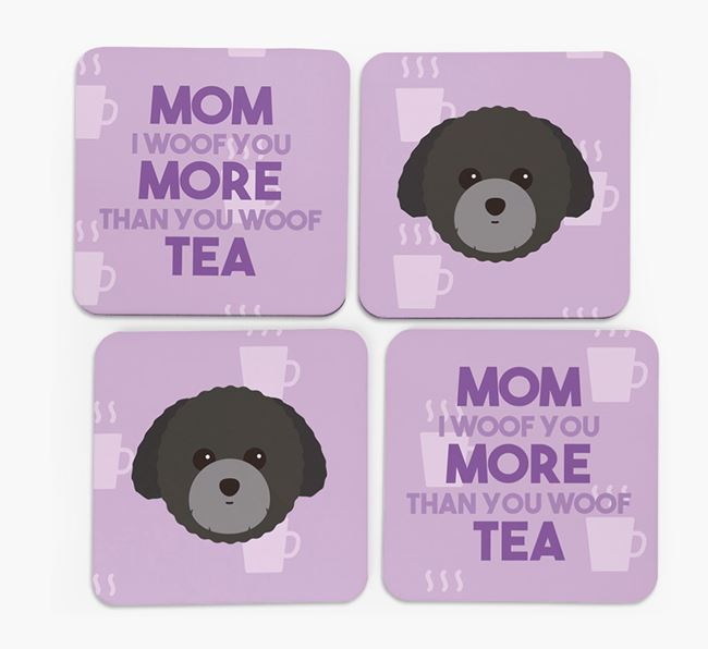 'More than Tea' - Personalized Toy Poodle Coasters (Set of 4)
