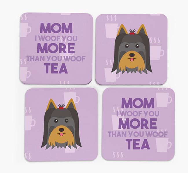 'More than Tea' - Personalized Yorkshire Terrier Coasters (Set of 4)