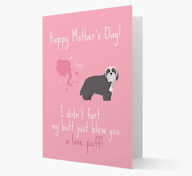 'Love Puff' - Personalized Bearded Collie Card