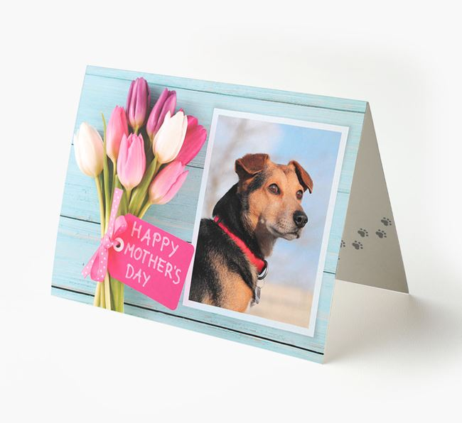 Happy Mother's Day Tulips - Personalized Bearded Collie Photo Upload Card