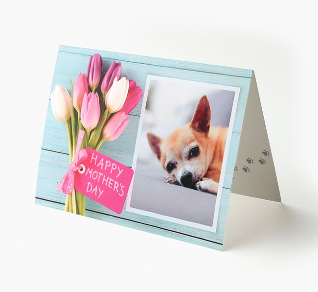 Happy Mother's Day Tulips - Personalised Chihuahua Photo Upload Card