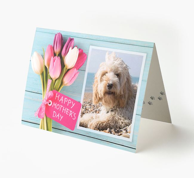 Happy Mother's Day Tulips - Personalized Cockapoo Photo Upload Card