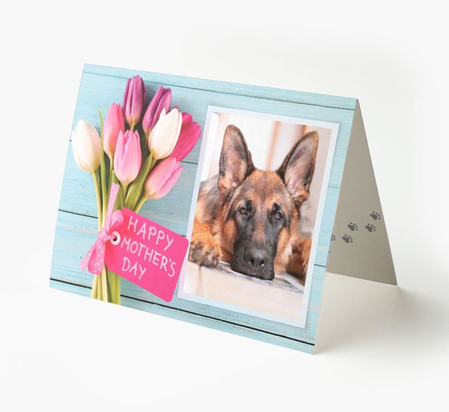 Happy Mother's Day Tulips - Personalized German Shepherd Photo Upload Card