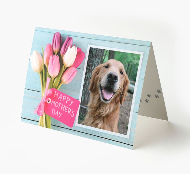 Happy Mother's Day Tulips - Personalised Golden Retriever Photo Upload Card