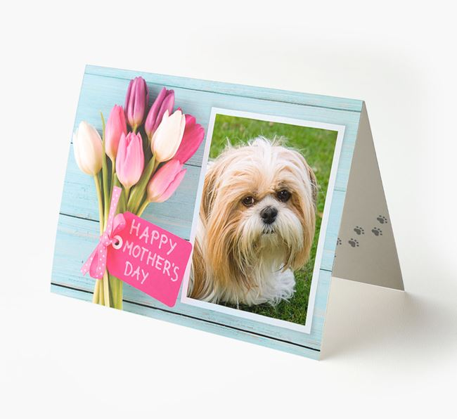 Happy Mother's Day Tulips - Personalized Shih Tzu Photo Upload Card