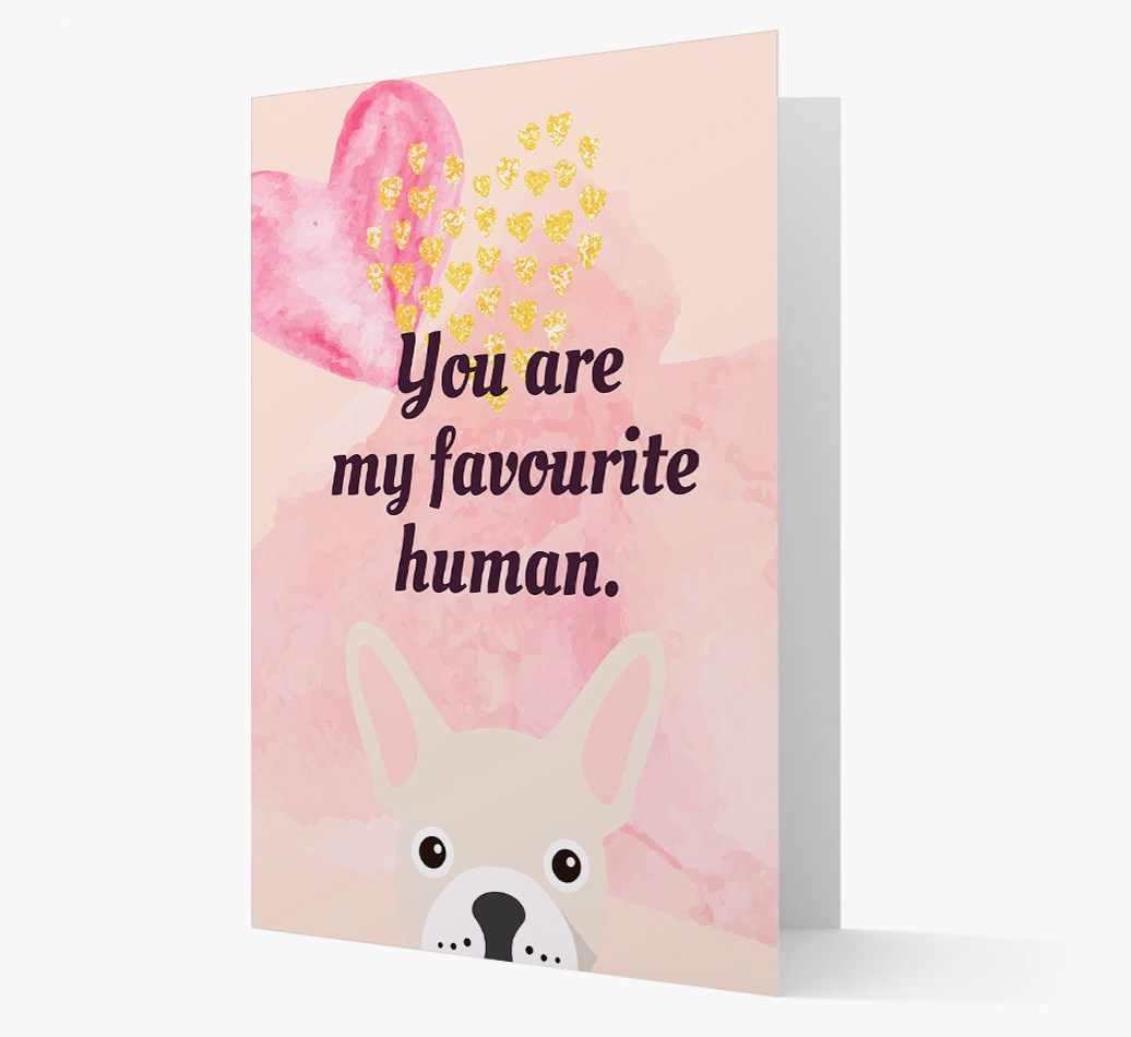 'Favourite Human' card with French Bulldog Icon