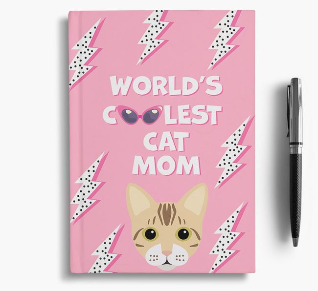 'Coolest Cat Mom' - Personalized Bengal Notebook