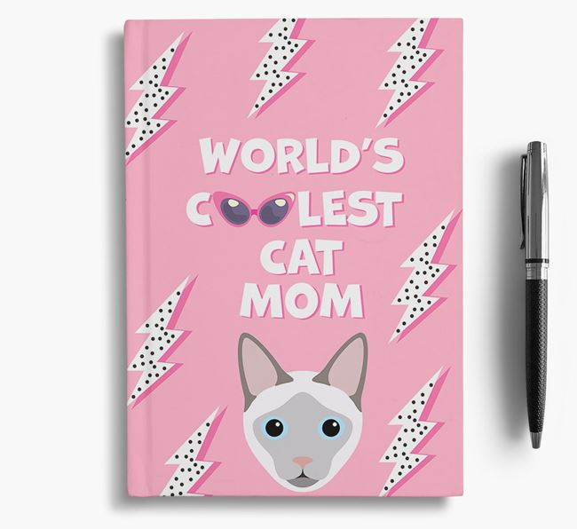 'Coolest Cat Mom' - Personalized Siamese Notebook