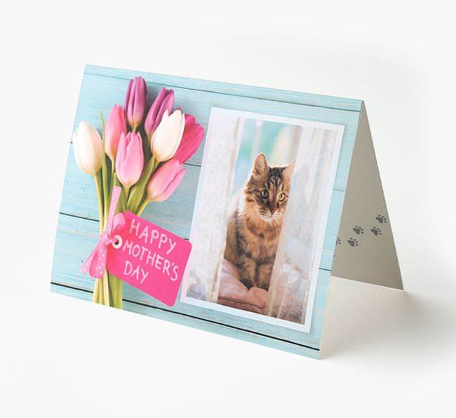 Happy Mother's Day Tulips - Personalized Cat Card