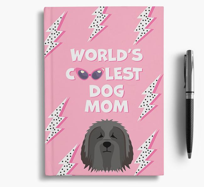 'Coolest Dog Mom' - Personalized Bearded Collie Notebook