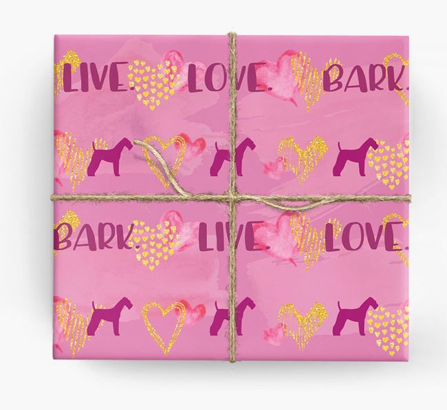 'Live. Love. Bark' Wrapping Paper with Airedale Silhouettes