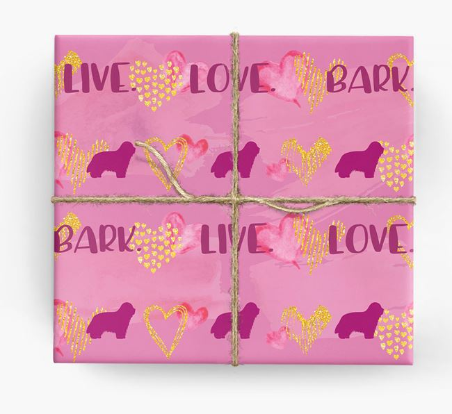 'Live. Love. Bark' Wrapping Paper with Bearded Collie Silhouettes
