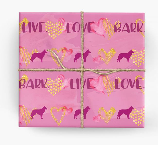 'Live. Love. Bark' Wrapping Paper with Belgian Shepherd Silhouettes