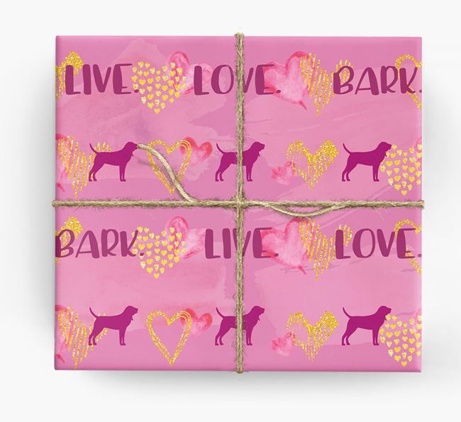 'Live. Love. Bark' Wrapping Paper with Bloodhound Silhouettes