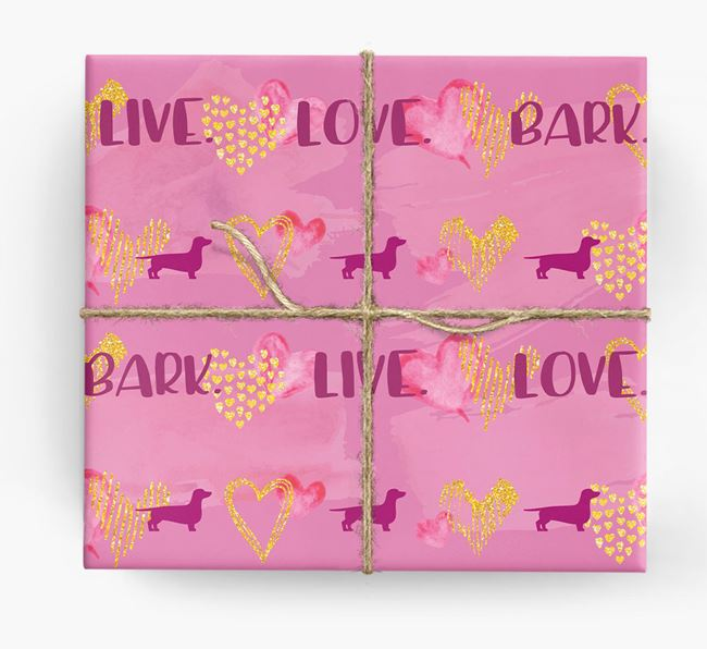 'Live. Love. Bark' Wrapping Paper with Dachshund Silhouettes