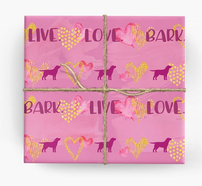 'Live. Love. Bark' Wrapping Paper with Labrador Silhouettes