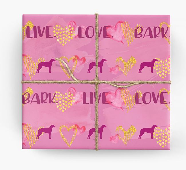 'Live. Love. Bark' Wrapping Paper with Lurcher Silhouettes