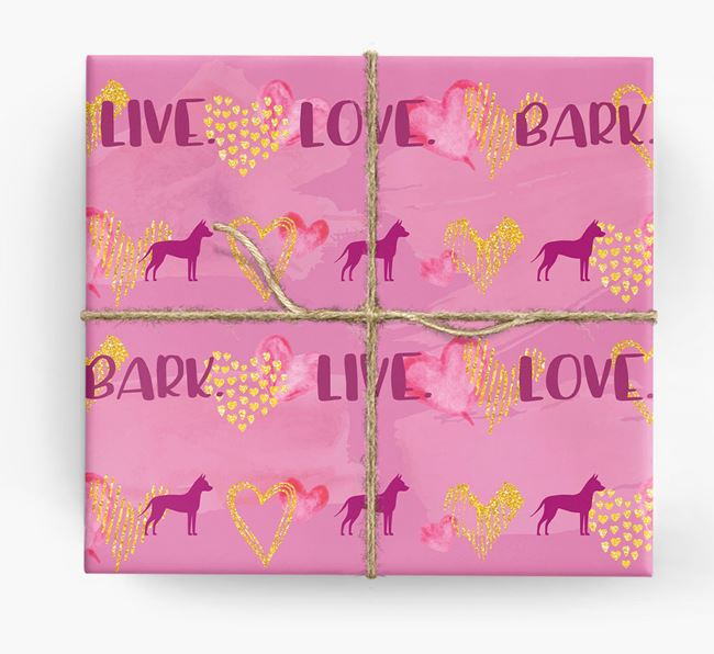 'Live. Love. Bark' Wrapping Paper with Mexican Hairless Silhouettes