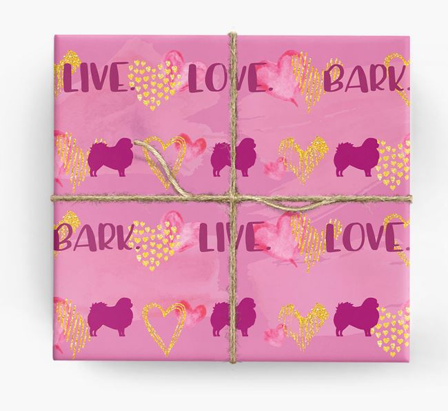 'Live. Love. Bark' Wrapping Paper with Pekingese Silhouettes