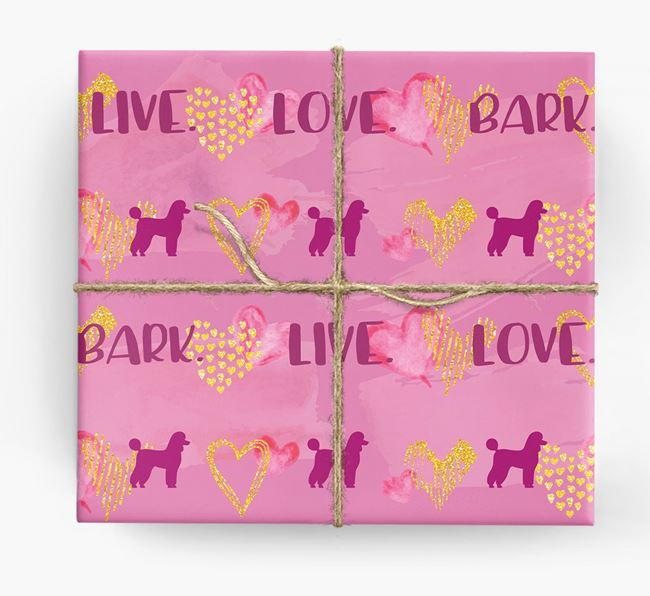 'Live. Love. Bark' Wrapping Paper with Poodle Silhouettes