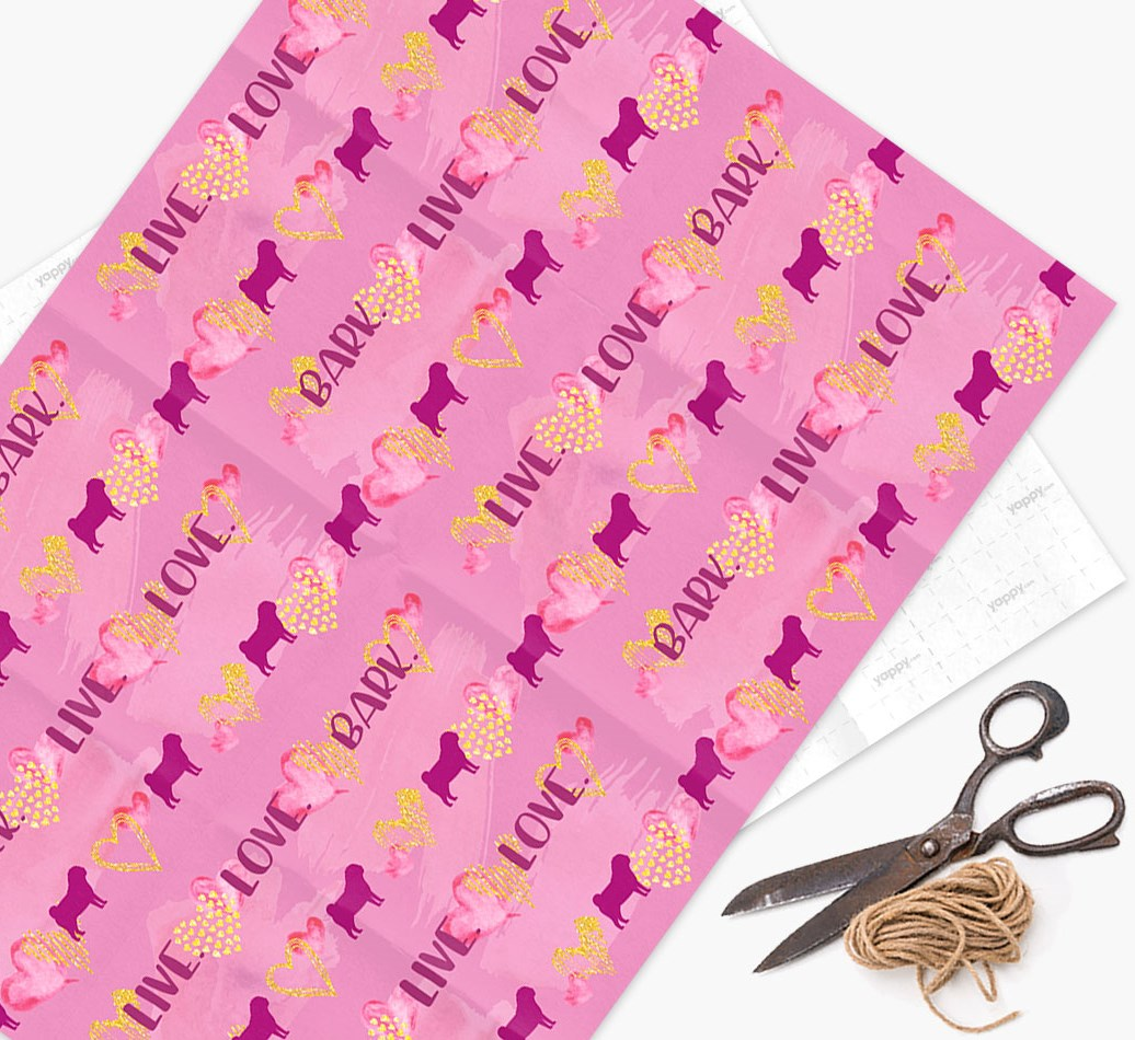 Wrapping Paper 'Live. Love. Bark.' with Pug Silhouettes
