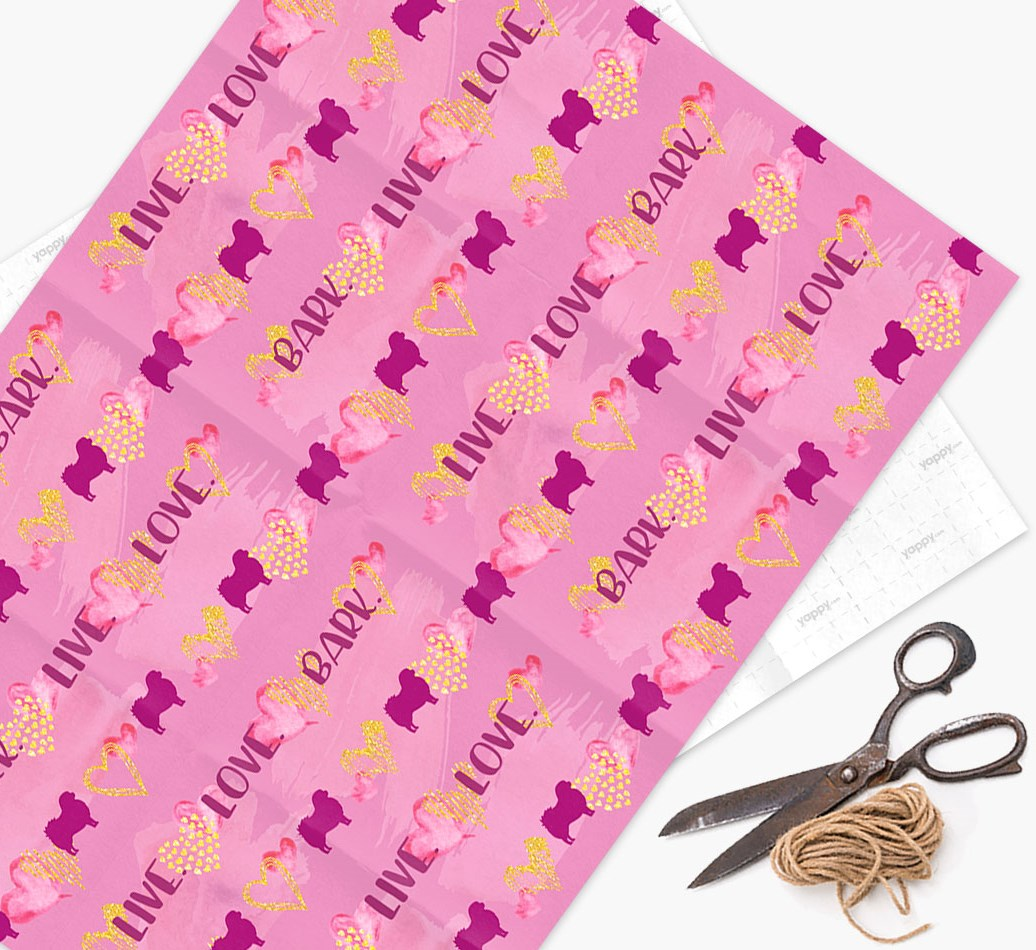 Wrapping Paper 'Live. Love. Bark.' with Tibetan Spaniel Silhouettes