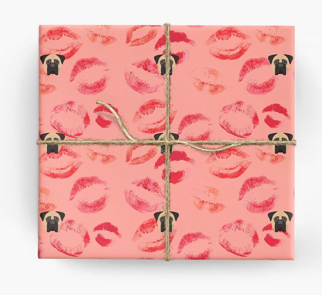 'Kisses' Wrapping Paper with Bullmastiff Yappicons