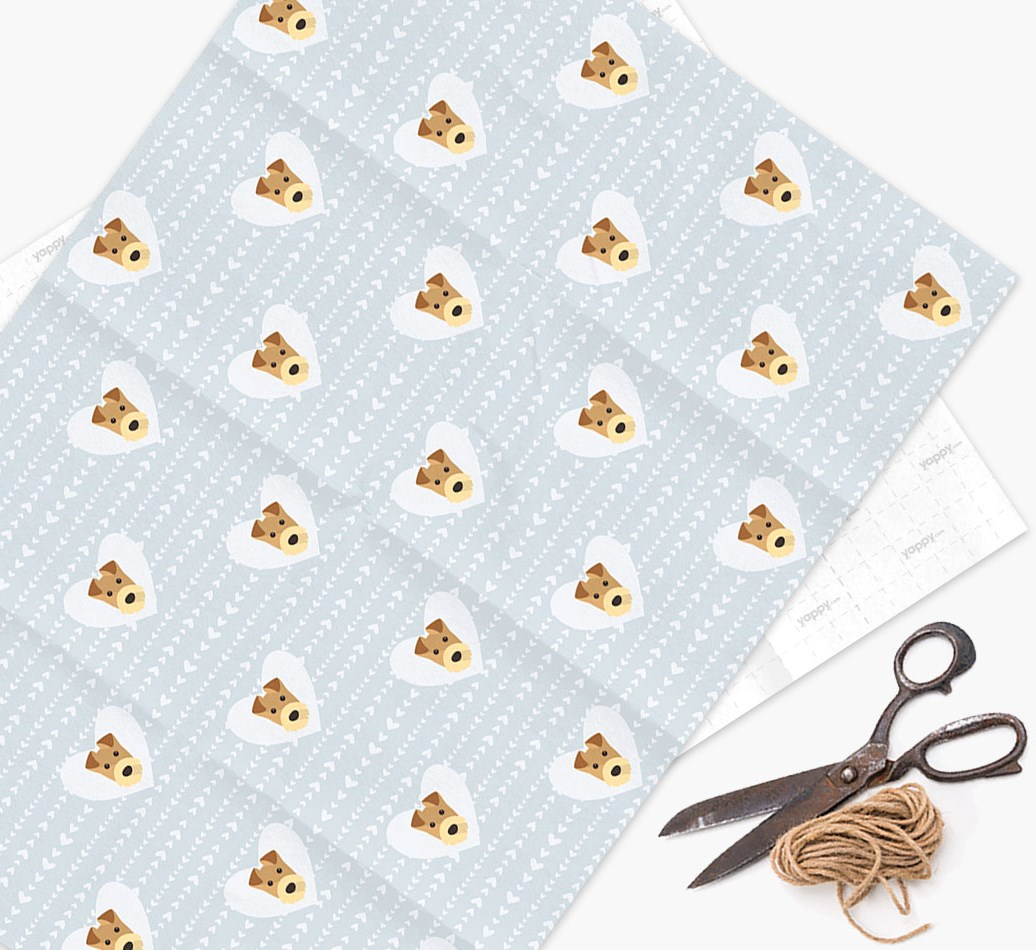 Wrapping Paper 'Hearts' with Airedale Terrier Icons