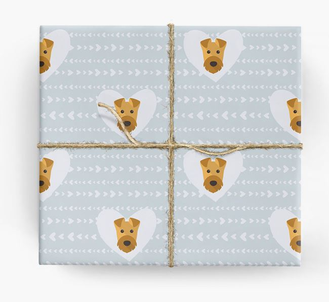 'Hearts' Wrapping Paper with Airedale Yappicons