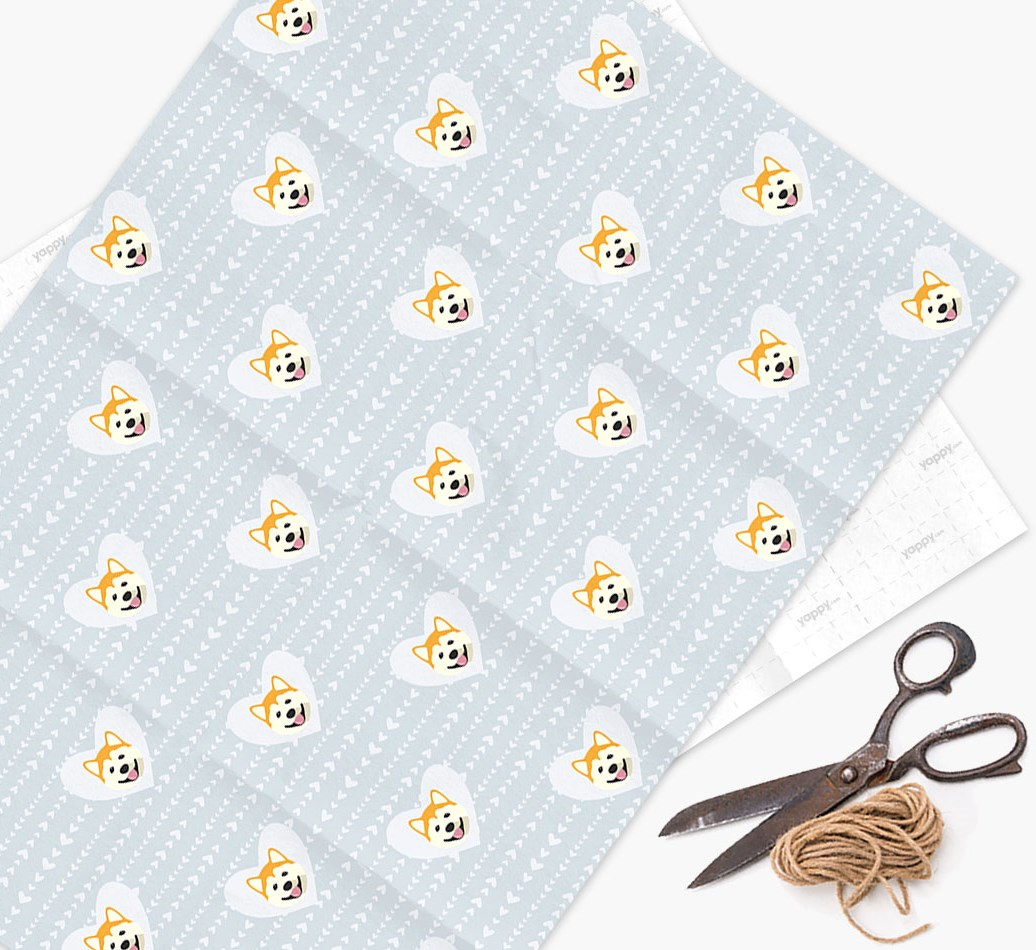 Wrapping Paper 'Hearts' with Akita Icons