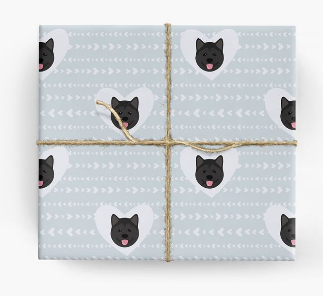 'Hearts' Wrapping Paper with Akita Yappicons