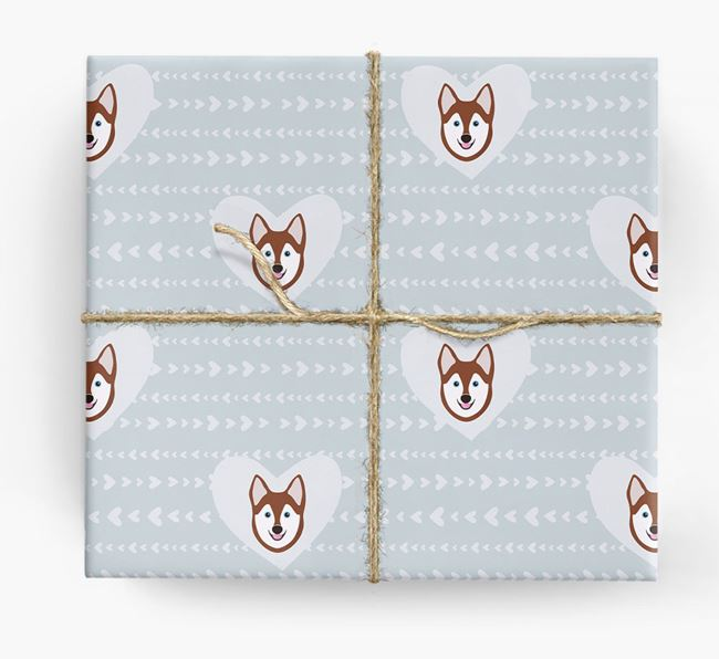 'Hearts' Wrapping Paper with Alaskan Klee Kai Yappicons
