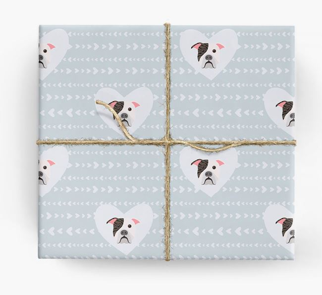 'Hearts' Wrapping Paper with American Bulldog Yappicons