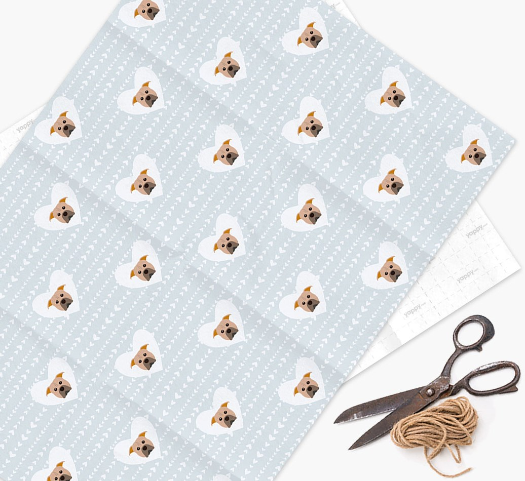 Wrapping Paper 'Hearts' with American Pit Bull Terrier Icons