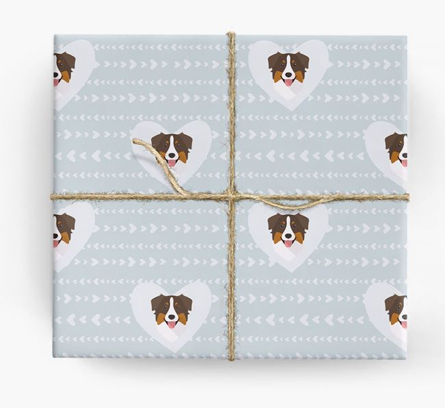 'Hearts' Wrapping Paper with Aussie Shepherd Yappicons