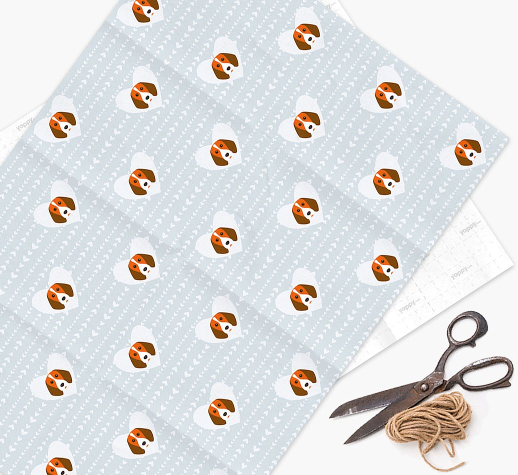 Wrapping Paper 'Hearts' with Beagle Icons