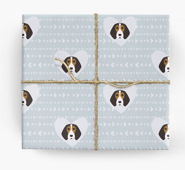 'Hearts' Wrapping Paper with Beagle Yappicons
